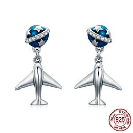 100% 925 Sterling Silver Fashion Star Tours Planet Plane Drop Earrings