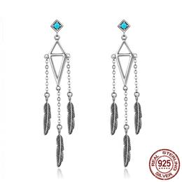 High Quality 925 Sterling Silver Feather Wind Chimes Dangle Drop Earrings