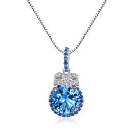Luxury 7mm Blue Topaz Pendant Necklace for Women Charming Chain Gemstone Necklace