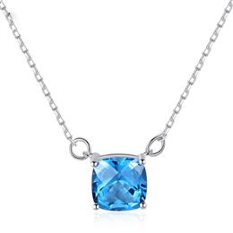 Fashion Square Sapphire Pendant Necklace for Women Charming Female Wedding Gemstone Necklace