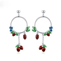 Silver Color Vintage Midsummer Eden Cherry Fruit Strawberry Drop Earrings