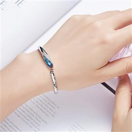 New Chic Women Bracelet S925 Sterling Silver Bangle with Elegant Blue Au...