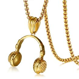 Rock Punk Headset Necklace For Men Gold Color Stainless Steel Pendant