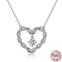 925 Sterling Silver Minimalism Twisted Heart Shape Crystal Pendant Necklaces