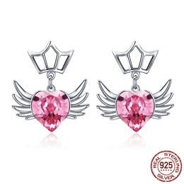 925 Sterling Silver Dream Wings Pink Heart CZ Exquisite Stud Earrings