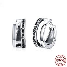 Classic 925 Sterling Silver Simple Double Round Circle Black CZ Hoop Ear...