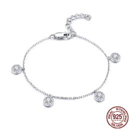 925 Sterling Silver Round Circle Dazzling CZ Crystal Women Bracelets Bangles