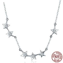 925 Sterling Silver Dazzling CZ Stackable Star Pendant Necklaces