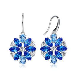 Exquisite Blue/Gold Flower Crystal Dangle Earrings Shiny Jewelry