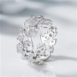 Silver 925 Sterling Ring for Women Hollow Rhinestone Engagement Simple Bohemian Jewelry