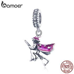 BAMOER Authentic 100% 925 Sterling Silver Magic Witch Pendant Charms