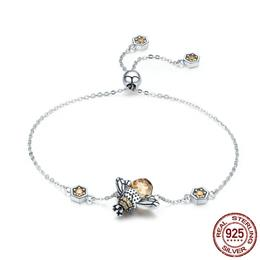 On Sale Genuine 100% 925 Sterling Silver Dancing Honey Bee Chain Link Wo...