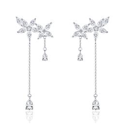 925 Sterling Silver Crystal Flower Long Chain Drop Earrings