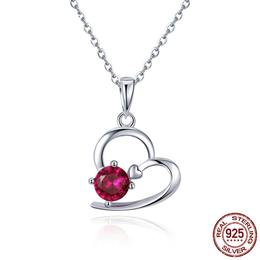 Romantic 925 Sterling Silver Heart Pave Red Crystal CZ Necklaces Pendants