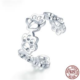 Hot Sale 925 Sterling Silver Adjustable Cat And Dog Footprints Paw Trail Rings