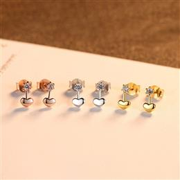 Trendy 925 Sterling Silver Heart Stud Earrings