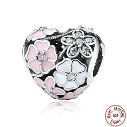 925 Silver Jewelry Poetic Blooms, Mixed Enamels Heart Charms