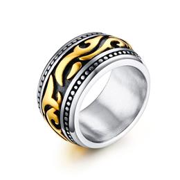 Gothic Men's Ring Vintage Gold-color Lines Geometric Retro Style Steel Ring