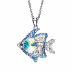 Women Necklaces Pendants  Austrian Rhinestone Fishes Shaped Blue Jewelry