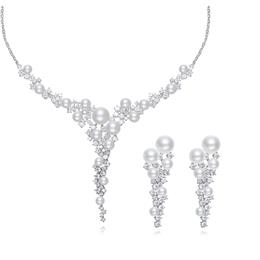 Australian Rhinestone jewelry Pearls Women Wedding Pendant Necklace Earrings