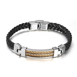 Fashion Black Leather Bracelets Men Jewelry Stainless Steel Wire Hot Sales