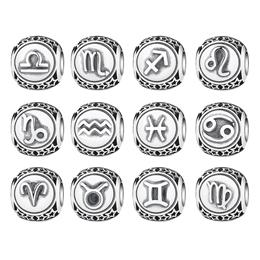 925 Sterling Silver Aquarius Star Sign Zodiac Beads Charms Fit Bracelets DIY