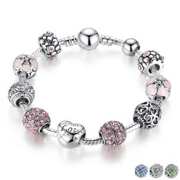 Bangle with Love and Flower Crystal Ball Women Wedding Valentine's D...