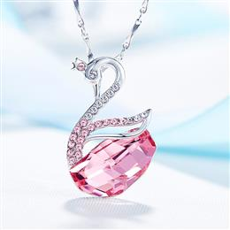 Swan Shaped Pendants Necklace Women S925 Sterling Silver Jewelry Austrian Rhinestone Paved Elegant