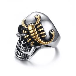 Men's Skull Bone Biker Rings Punk Scorpion Stainless Steel Male Retr...