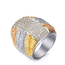 3-tone Dome Cocktail Ring with Pave Clear Cubic Zirconia Band