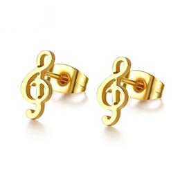 Cute Music Stud Earrings For Women Small Ear Gold Color