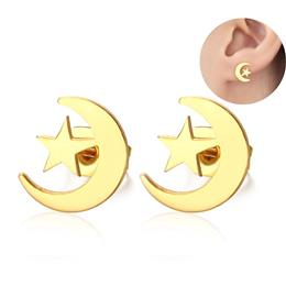 Elegant Moon Stars Stud Earrings For Women Gold color Stainless Steel Ea...