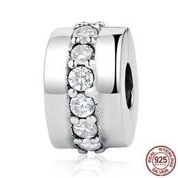 100% 925 Sterling Silver Shining Path, Clear CZ Clip Charms fit Bracelet...