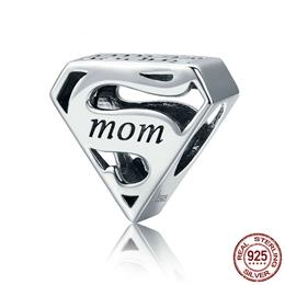 925 Sterling Silver Super Mom Mother Engrave Beads fit Charm Bracelets