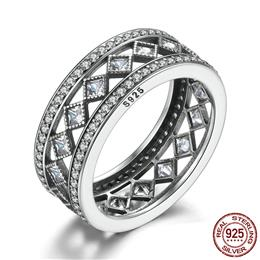 Hot Sale 925 Sterling Silver Square Vintage Fascination, Clear CZ Big Ring