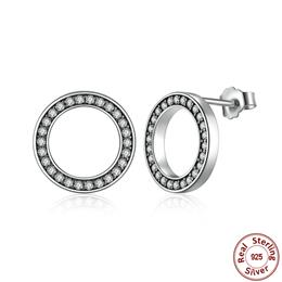 Forever Clear CZ 925 Sterling Silver Circle Round Stud Earrings