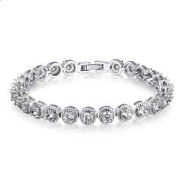 Link Bracelet with AAA Cubic Zircon for Women Party Jewelry