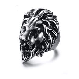 Men's Lion Rings Stainless Steel Rock Punk Rings For Men Jewelry
