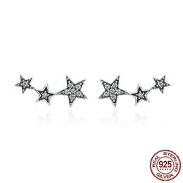 925 Sterling Silver Sparkling CZ Exquisite Stackable Star Stud Earrings