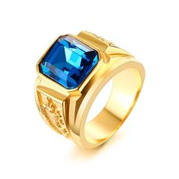 Blue Stone Rings For Women Men Jewelry Gold-color Casting Ring