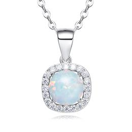 Blue White Inmitation Opal Women Necklace Fashion S925 Sterling Silver Pendant