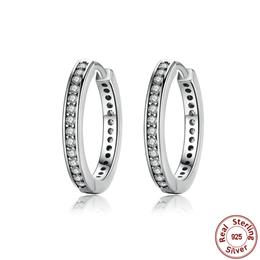 2018 Valentine's Day Deals 925 Sterling Silver Cz Simple Female Hoop Earrings