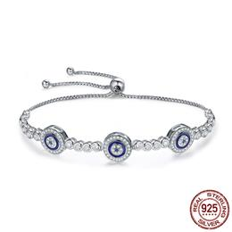 New Arrival Genuine 925 Sterling Silver Luxury Round Blue Eyes Bracelets