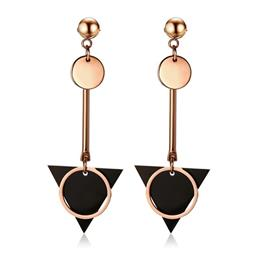 Geometry Double Circle Triangle Plate Drop Earrings