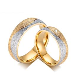 Couple Engagement Ring For Women Men Sand Blasted Gold-Color Stainless Steel Ring