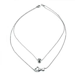 Double Layer Interlocked Heart Infinity Choker Necklace for Women Silver...
