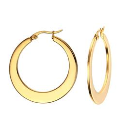 Gold-color Hoop Huggie Earrings For Women Classic Stainless Steel