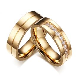 Trendy Wedding Bands Rings For Women / Men Love Gold-color Stainless Steel Rings