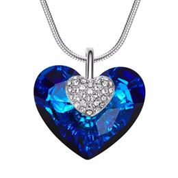Women Necklace Heart Shaped Blue Engagement Wedding Fashion Jewelry