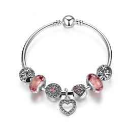 Simple Friendship Bracelets Silver Color Heart Pendant Bracelets